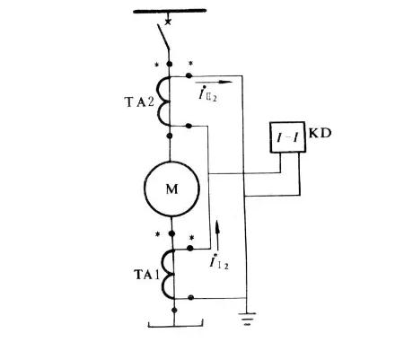 电动机纵差维护单线原理接线图
