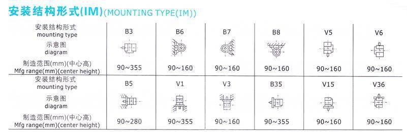 寬頻率三相異步電動機安裝結構圖
